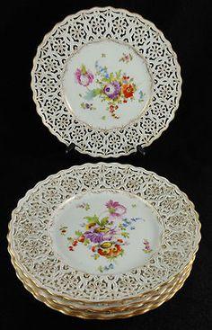 "6 Super Antique Dresden Porcelain Floral 8 3 4"" Plates Finely Reticulated Edges | eBay"