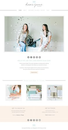 Minimalist chic website design for a team of creative paper enthusiasts specializing in custom invitations and event details. Using Naomi Theme from Bluchic. Visit site at dear-june.com