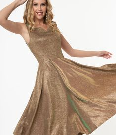 1950s Iridescent Rose Gold Sparkle Martina Swing Dress – Unique Vintage Girly Girl Outfits, Exclusive Clothing, Swing Skirt, Hat Hairstyles, Gold Sparkle, Prom Dresses, Formal Dresses, Model Pictures, Princess Seam