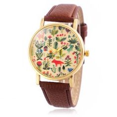 Jijia SG1251 Golden Case Women Quartz Watch with Leather Strap Flower and Animal Face