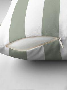 """Desert Sage Grey Green Circus Tent Stripe"" Throw Pillow by podartist Cheap Throw Pillows, Designer Throw Pillows, Iphone Wallet, Pillow Design, Green And Grey, Sage, Tent, Gym Bag, Deserts"