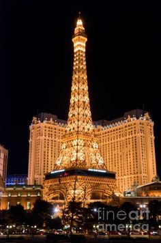Paris Las Vegas Hotel and Casino with the half scale reproduction of the Eiffel Tower.