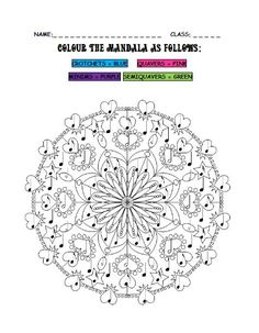 Students will enjoy this fun 'Colour the Mandala' colouring-in activity. It is a great worksheet for identifying crotchets, quavers, s. Music Activities, Music Games, Middle School Music, Music Worksheets, Piano Teaching, Elementary Music, Music Classroom, Music Theory, Music Lessons