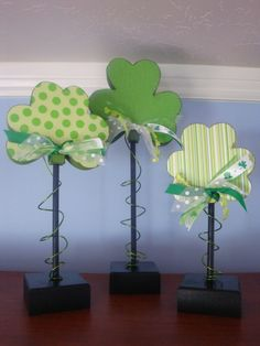 st patrick's day home decorations | Items similar to St. Patrick's Day Home Decor Shamrocks Set on Stands ...
