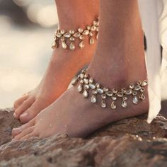 Ornament Summer Beach Diamond-studded Anklet Acrylic Crystal Water Drop   Import-express.com