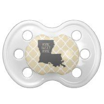 Home Sweet Home Louisiana Baby Pacifiers  | Yellow and Grey Quatrefoil Design | Gift for Baby #babygift #louisiana #pacifier