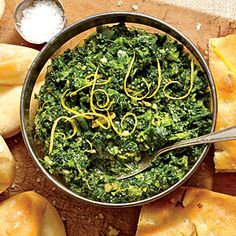 Turnip Green Pesto |Pair with flavorful Rosemary Focaccia Bread and springy Mrs. Monty's Rolls for a mouth-watering appetizer. / SouthernLiving.com