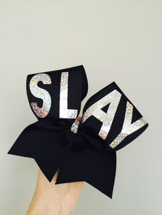 SLAY BLACK AND HOLOGRAPHIC CHEER BOW