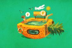 夏日水果味。|插画|商业插画|猫小犬 - 原创作品 - 站酷 (ZCOOL)
