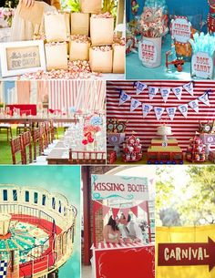 Carnival Circus Party. I like the idea of having a kissing booth where couples can have a photo of their smooches! :)