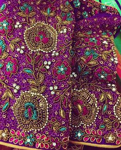 No automatic alt text available. Wedding Saree Blouse Designs, Silk Saree Blouse Designs, Wedding Blouses, Blouse Patterns, South Indian Blouse Designs, Best Blouse Designs, Embroidery Art, Embroidery Designs, Embroidery Blouses