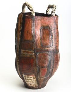 """Brenda Holzke - RED HOT MAMA 15""""X9"""" high fired stoneware """"My ceramic pieces are sculpted and then layered with a multitude of slips, stains, and other worldly textures. Between firings, I use special pencils, chalks and pigments to express my modern relics."""""""