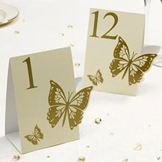 12 Gold Butterfly Table Numbers, For Weddings, Partys and Special Occasions