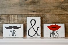 Reclaimed Wood Art Sign: 3 piece Mr. & Mrs. Mustache and Kiss Wedding Love