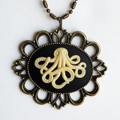 Octopus Cameo Necklace now featured on Fab.