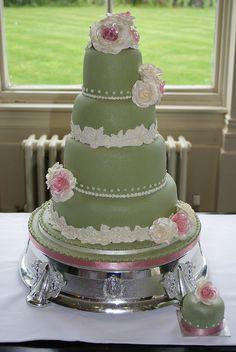 Sage Green and Roses Wedding Cake