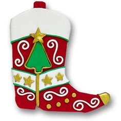 Red Cowboy Boot  Personalized Christmas Ornament