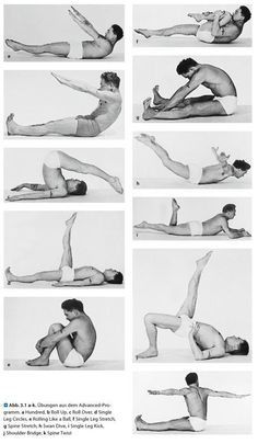 @FrancenePerel: Joseph #Pilates a selected  sampling of his mat exercises: from top left & down:the hundred,the roll up,the roll over, the one leg circle. From top right down: the one leg stretch, the spine stretch,the swan-dive,the one leg kick, the shoulder bridge, the spine twist.