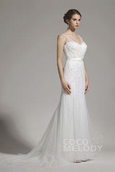 New+Arrival+Sheath-Column+V-neck+Tulle+Ivory+Sleeveless+Wedding+Dress+with+Beading+AWZT15002