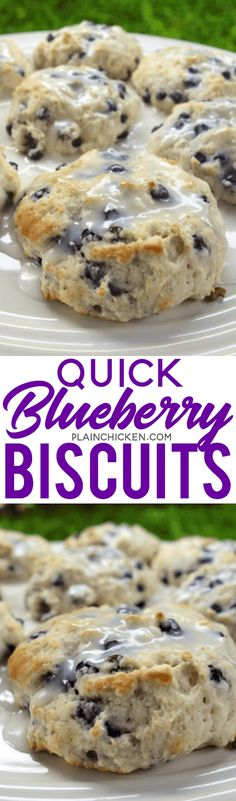 Quick Blueberry Biscuits only 4 ingredients and ready in 15 minutes Seriously delicious Bisquick sugar blueberries and buttermilk Top with a quick powdered sugar and mil. Breakfast Items, Breakfast Dishes, What's For Breakfast, Breakfast Recipes, Blueberry Breakfast, Breakfast Biscuits, Breakfast Casserole, Breakfast Smoothies, Brunch Recipes