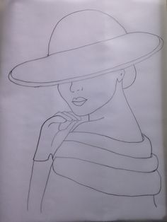 Lady in hat Pencil Art Drawings, Art Drawings Sketches, Easy Drawings, Applique Patterns, Applique Designs, Embroidery Designs, Stained Glass Patterns, Mosaic Patterns, Fabric Painting
