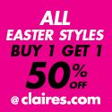 Claire's Offers Buy 1, Get 1 Half Off!