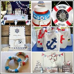nautical themed centerpieces   Nautical Themed Baby Shower Inspiration   Baby shower ideas