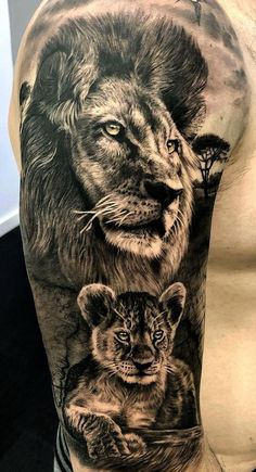 50 eye-catching lion tattoos that make you fancy ink - hyper-realistic lion . - 50 eye-catching lion tattoos that make you want to ink – hyper-realistic lion tattoo © SEVEN TAT - Lion Cub Tattoo, Cubs Tattoo, Lion Head Tattoos, Mens Lion Tattoo, Lion Tattoo Design, Leo Tattoos, Baby Tattoos, Family Tattoos, Body Art Tattoos