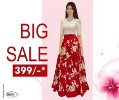 RESTOCKED On Popular Demand!. Get this Gown at only Rs 399/- only on www.mutafashion.com Lehenga, Saree, Shop Till You Drop, Secondary Color, Fabric Shop, Formal Wear, Style Icons, Trendy Outfits, High Waisted Skirt