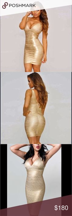 Gold heavyweight bandage dress Provides the nicest and most stylish dress which can be worn in all occasions and won't make you sweat because of the fabric that is used for this item.  Center back zipper with hook-and-eye closure. Fabric: 90% Rayon + 9% Nylon + 1% Spandex Anti-wrinkle. Durable and reliable zippers. Delicate sewing and hemming by durable needle lockstitch machine. YKK zipper (known as the most durable and reliable zippers manufactured today). Conceale center back zipper with…