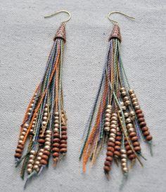 Vegan Feather Fringe Earrings w/ Copper Cone