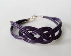Leather Sailor Knot Bracelet - Dark Violet Leather Strap Bracelet with Sailor Knot - Simple and Stylish