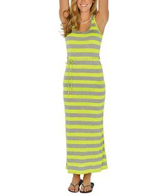 Take a look at this Neon Yellow Stripe Maxi Dress by Lagaci on #zulily today!