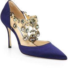 Manolo Blahnik Zullin Blue Satin Jeweled Dorsay Pumps Evening shoes www.finditforweddings.com wedding shoes