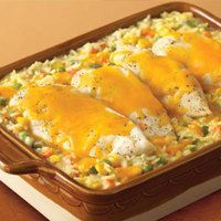 Cheesy Chicken & Rice Casserole 1 10 3/4 ounce can Campbell's® Condensed Cream of Chicken Soup 1 1/3 cups water 3/4 cup uncooked regular long-grain white rice 1/2 teaspoon onion powder 1/4 teaspoon ground black pepper 2 ounces mixed vegetables 4 skinless, boneless chicken breast half 1/2 cup shredded cheddar cheese Mix together, top with chicken, cover, 50min at 185deg