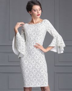 #AdoreWe #BAOYAN BAOYAN Ruffled Trumpet Sleeve Side Slit Lace Sheath Short Dress - AdoreWe.com