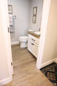 Provenza Vinyl Plank Flooring in Bathroom Hardwood Floors In Bathroom, Bathroom Vinyl, Vinyl Flooring Bathroom, Basement Makeover, Lvp Flooring, Laminate Flooring Colors, House Flooring, Vinyl Plank Flooring Bathroom, Luxury Vinyl Plank