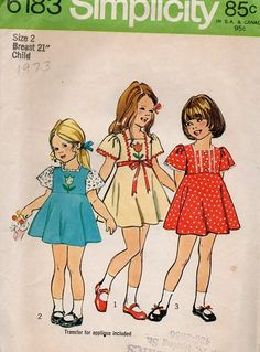 Simplicity 70s Sewing Pattern Girls Play by AdeleBeeAnnPatterns, $6.00
