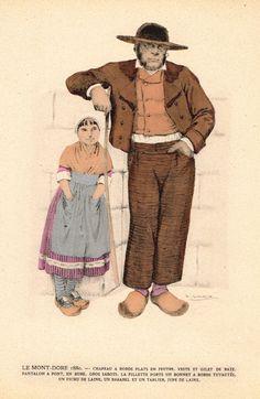"""Lhuer's Auvergnat & Bourbonnais Fench Costume Print - """"""""LE MONT-DORE 1880"""""""" - Chromolithograph - 1927"""