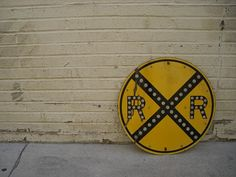 Vintage Porcelain Rail Road  sign with reflector by Simply2nds, $299.00