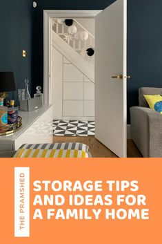 Storage tips and ideas for a family home, looking at how to create bespoke and freestanding storage in a bedroom, kitchen and living room to house all of those toys and Lego.