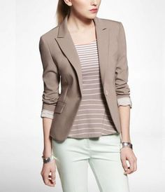 STUDIO STRETCH ONE-BUTTON JACKET at Express #ExpressHoliday