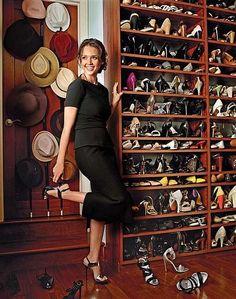 Jessica Alba's closet set up. Love the hat rack and shelves for even ballerina flats!