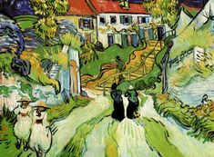 Village Street And Steps In Auvers With Figures -  Auvers-sur-oise, France  1890