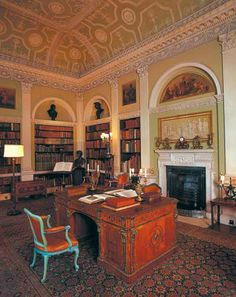 The Old Library was one of the first rooms to be completed in the late 1760s. Items in this room by Chippendale include the painted blue chairs date to circa 1771 but retain many elements of the earlier Rococo style and the library steps with neo-classical marquetry.   The mahogany library desk in the centre of the room is Regency, possibly made by local firm Wright and Elwick. Items on this table include a command from King Edward VII to the 5th Earl to attend his coronation in 1902.