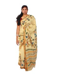Kalamkari sarees / kalamkari silk sarees / kalamkari cotton sarees / kalamkari cotton dress material / Kalamkari sarees online with price. For more info www.uppada.com