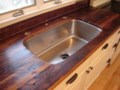Rustic recalimed barn rafters for countertops.  Scott Cassin's Custom Countertops - welcome