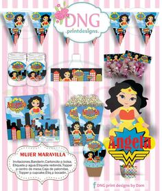 $100 Kit Imprimible Mujer Maravilla Wonder Woman