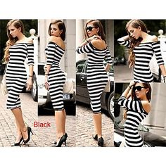 TIANHE Packet buttock women's fashionable stripe shoulder cultivate one's morality dress sexy figure SV002328 - USD $ 31.65