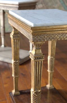 Montblanc I & II by Ebanista ~ Hand-Carved side Table, Honed Carrara Marble Top, antique 22k Borghese Detailing.
